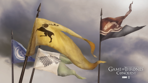 Image of several banners waving from Game of Thrones: Conquest