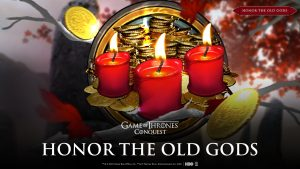 """Header image with text: """"Honor the old Gods"""" with image of red candles and gold coins in the background."""